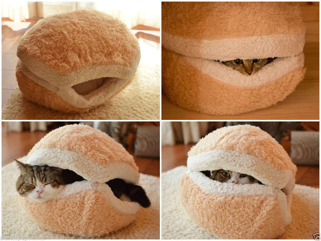 Small Hamburger Beds - Soft Warm Pet Cat Dog Puppy Kitten ...