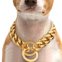 Gold Pinch Cuban Link Style Choke Chain Necklace